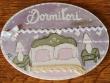 Placa para puerta dormitorio fondo violeta (Dormitori)