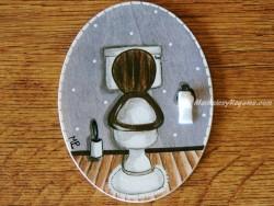 Placa para puerta WC fondo violeta