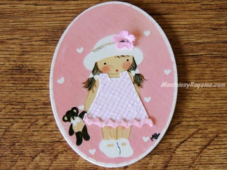 Placa infantil puerta niña osito fondo rosa