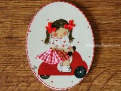 Placa infantil para puerta modelo niña vespa roja