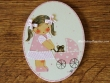 Placa infantil para puerta modelo niña con cochecito de bebé rosa