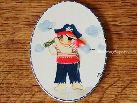 Placa infantil para puerta modelo niño pirata
