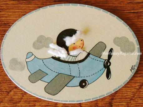 Placa infantil para puerta modelo niño con avioneta