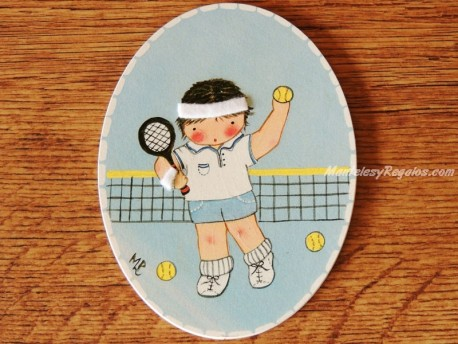 Placa infantil para puerta modelo niño deportista