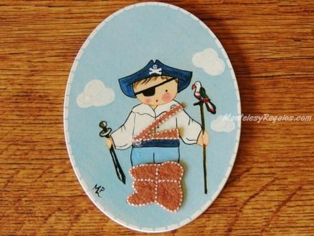Placa infantil para puerta modelo niño pirata con espada