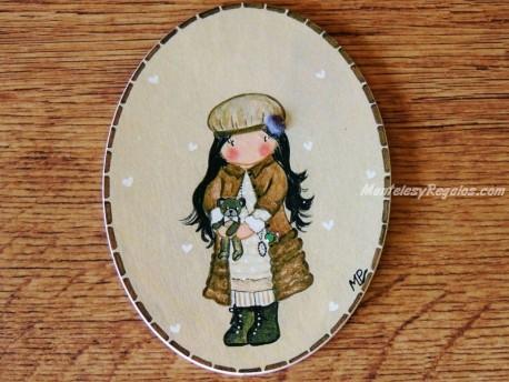 Placa infantil para puerta modelo niña con chaquetón