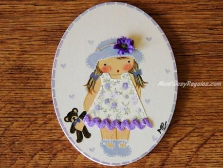 Placa infantil para puerta modelo niña con sombrero azul y osito