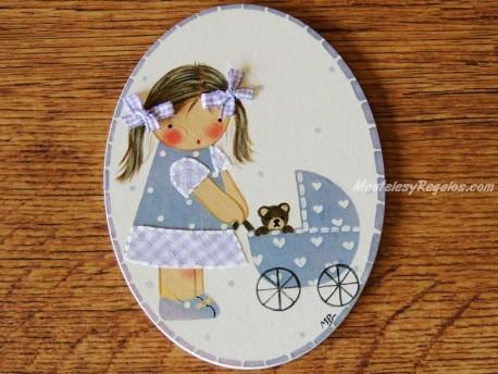 Placa infantil para puerta modelo niña con cochecito de bebé y osito
