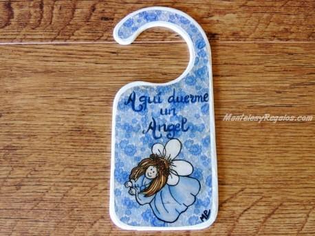 Placa para pomo de puerta niño ángel (Aquí duerme un Angel)