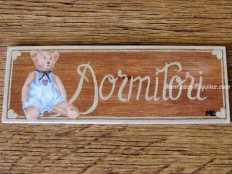Placa para puerta dormitorio osito (Dormitori)