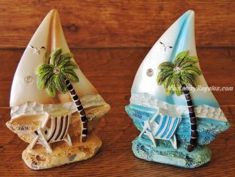 Barcas decorativas de resina - 11 cm. (2 colores para elegir)