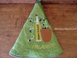 Paño redondo de cocina - Modelo BOTELLA DE ACEITE 02 PALAMÓS - Verde