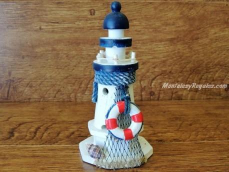 Faro marinero de madera - 17 cm. (Modelo Faro con flotador)
