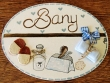 Placa para puerta baño fondo blanco (Bany)