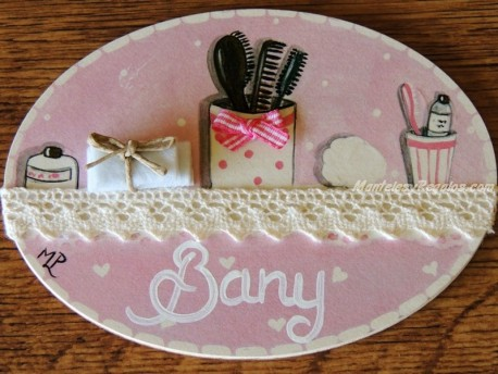 Placa para puerta baño fondo rosa (Bany)