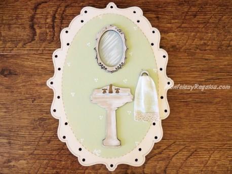 Placa para baño - 25 cm. (con color de fondo verde claro)