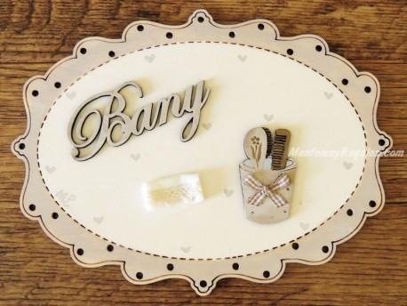 Placas de puerta para baño - 20 cm. (con texto BANY)