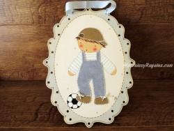 Cuadro infantil niño con balón - 30 cm.