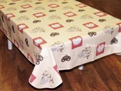 Mantel algodón plastificado - Modelo CORAZONES - Beige