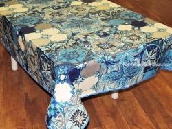 Mantel algodón plastificado - Modelo AZULEJOS - Azul