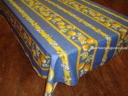 Mantel de Algodón Plastificado - Modelo CITRON - Azul