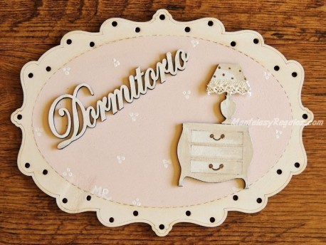 Placa puerta Dormitorio y mesita - 20 cm. (DORMITORIO con fondo rosa)