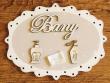 Placa para puerta de baño - 20 cm. (con texto BANY sobre fondo color beige)