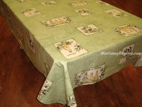 Mantel de Algodón Plastificado - Modelo PATCH OLIVES - Verde
