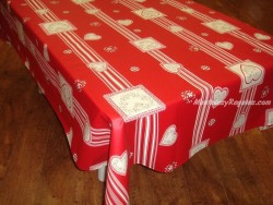 Mantel de Algodón Plastificado - Modelo CHATEL MONTAGNE - Rojo