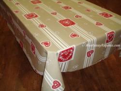 Mantel de Algodón Plastificado - Modelo CHATEL MONTAGNE - Beige/Rojo