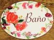 Placa para baño con flores modelo nº 3 (con texto BAÑO)