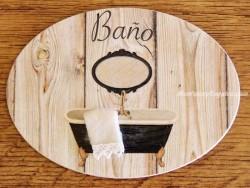 Placa de baño con bañera negra (con texto BAÑO)