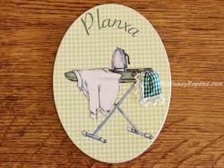 Placa de puerta con tabla de planchar (con texto PLANXA)