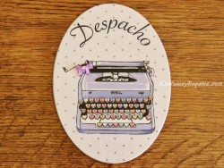 Placa de puerta con máquina de escribir (con texto DESPACHO)