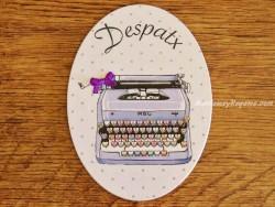 Placa de puerta con máquina de escribir (con texto DESPATX)