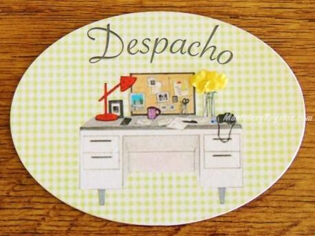 Placa de puerta con mesa de oficina (con texto DESPACHO)