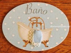 Placa de baño con bañera y patas de cobre (con texto BAÑO)