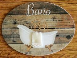 Placa de baño con bañera fondo madera (con texto BAÑO)