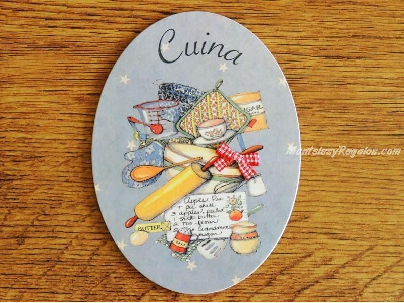 Interesante placa de puerta de cocina con menaje y accesorios - Placa de cocina ...