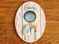 Placa de baño con espejo redondo (con texto BAÑO)