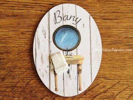 Placa de baño con espejo redondo (con texto BANY)