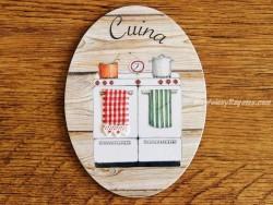 Placa de cocina con fogones de gas (con texto CUINA)