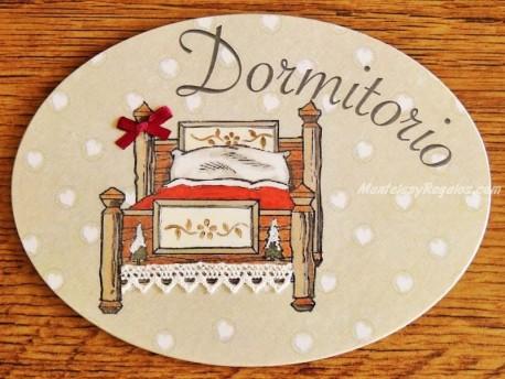 Placa de dormitorio con cama patas madera (con texto DORMITORIO)