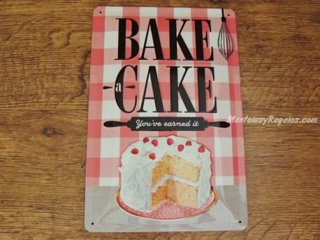 Placa metálica BAKE A CAKE - 20 x 30 cm.