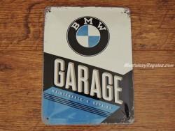 Placa metálica GARAGE BMW - 15 x 20 cm.