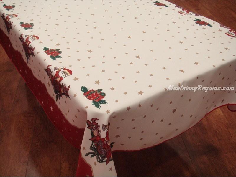 Mantel antimanchas de poli ster modelo navidad p02 blanco - Manteles para navidad ...